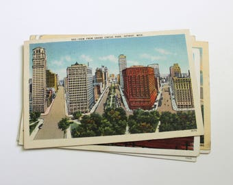 6 Vintage Detroit Michigan Postcards Used