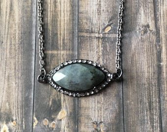 Gorgeous gray jasper necklace