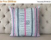 "10 - DAY - SALE 18""x18"" Vintage batik Hmong textile,Handwoven Hemp Fabric,Scatter cushions and pillows,"