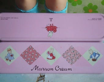 Vintage Marron Cream Pencil Tin Case. Rare. From Sanrio. Made in Japan. 1987. Bubble Gum Pink. Kawaii. Slim Pencil Case.
