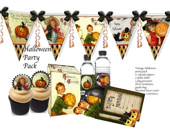 Halloween Printable party decor including banners, goodie bag, water bottle labels, cupcake toppers and invites, haunted house