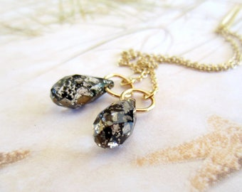 Gold Threaders-Crystal Teardrops-Antique Black-Clear Iridescent