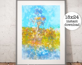 Fall Colors Wall Art, Autumn Watercolor Print, Autumn Leaves Digital Print, Printable Wall Art, Digital Download, Instant Download
