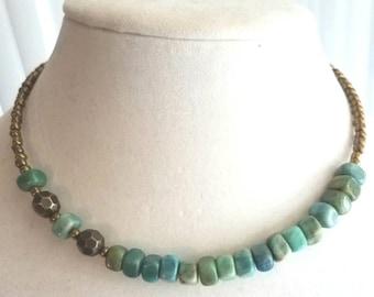 Memory wire green gemstone choker necklace