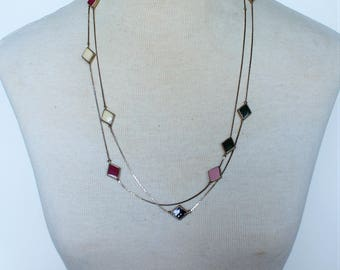 Vintage Double Two Strand Geometric Silver Tone Chain Enamel Pink Off White Burgundy Red Dark Green Diamond Shaped Beaded Necklace