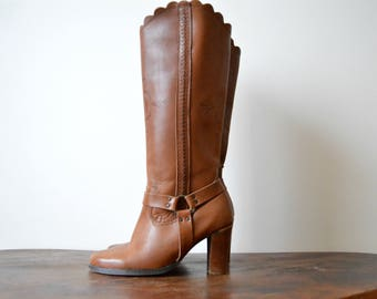 Heels Boots Women Size US 6 EU 36 Brown Leather High Boots