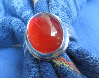 Translucent Red Carnelian in Classic Argentium Ring Size 8 & a Half