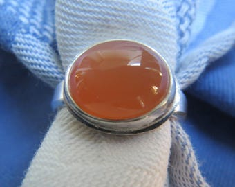 Peach Moonstone in Argentium Silver Ring Size 6 & a Quarter