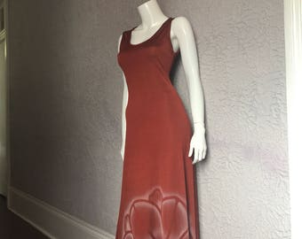 70's Vintage Disco Maxi Airbrush Tank Dress med.