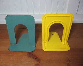 2 Vintage Metal Bookends, Yellow Highsmith, Blue Gaylord, Staging, Industrial