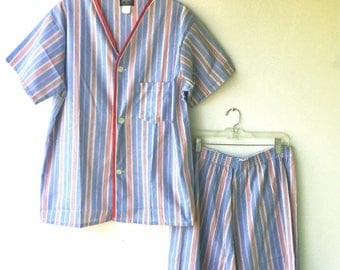 Men's 2 Piece Summer Pajama Set // Pajama Shirt and Shorts // Blue Stripe Pajamas // Size Med - Lg