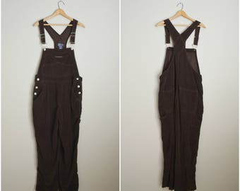 vintge 90s dark brown corduroy old navy overall dungaree pants -- womens large - 38x31
