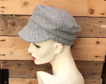 Linen fisherman Cap, fiddler's cap, peaked cap,linen cap,summer cap,Over to you, handmade hat, peaked brim cap,