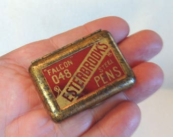 Vintage Esterbrook's Fountain Pen Nib Tin box & One Nib