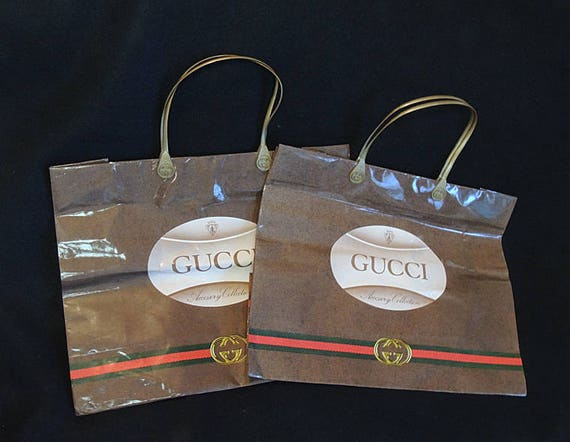 2 Vintage Authentic GUCCI Luxury Designer Logo Paper Shopping Bags