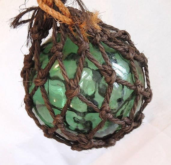"Vintage 18"" In Circumference Japanese GLASS FISHING FLOAT.. Net, Olive Green (#64)"