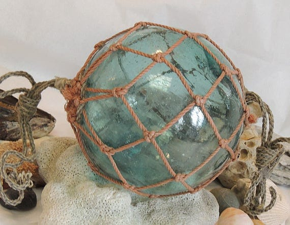 "Vintage 13.5"" In Circumference Japanese GLASS FISHING FLOAT Full Net, Bubbles & Striations (#63)"