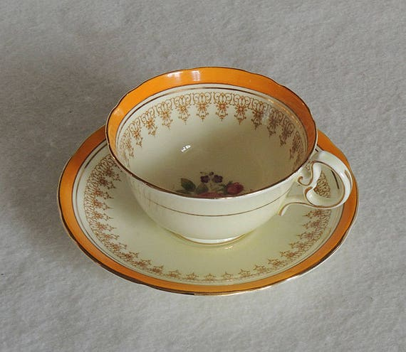 Vintage Aynsley Bone China Tea Cup & Saucer.. White, Yellow, Gold.. Floral  Design