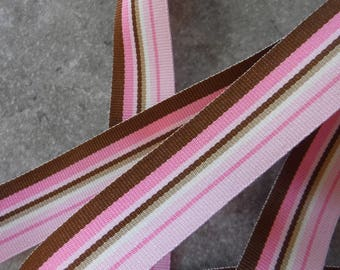 Pink and Brown Striped Grosgrain Ribbon 2 Yards