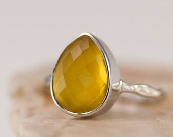 40 OFF - Yellow Chalcedony Ring - Gemstone Ring - Stacking Ring - Sterling Silver Ring - Tear Drop Ring
