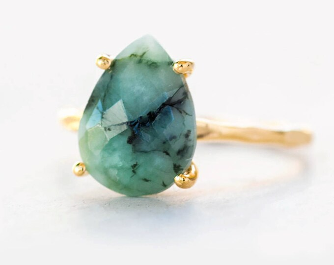 Featured listing image: Green Raw Emerald Ring Gold, May Birthstone Ring, Gemstone Ring, Clothing Gift, Stacking Ring, Tear Drop Ring, Prong Ring, Christmas Gift