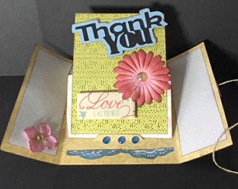 """3 Options, Pedestal Gate-Fold Card Kit, SVG & DS Compatible. """"Happy Birthday"""", """"Thank You"""", and """"Get Well Soon"""""""