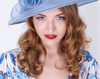 """Light Blue Sun Hat - """"Rosy Anne""""  Wide Brimmed Fascinator Sun Hat w/ mesh flowers and feathers"""