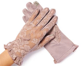 Lacey Vintage Purple Floral Overlay Lace Gloves