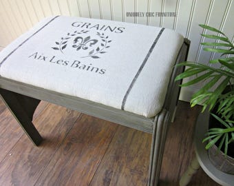 Farmhouse Style Bench~ Grain Sack~ Feed Sack~Vintage~French Country