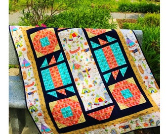 Baby Quilt Kit - Tee Pee Town by Little Louise Designs - Pow Wow Fabric by Exclusively Quilters.