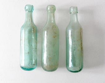 1800s round bottom bottle collection, set of 3 antique soda bottles