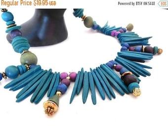 CLEARANCE SALE  Wood Blue Necklace Vintage 70s Modern Necklace boho