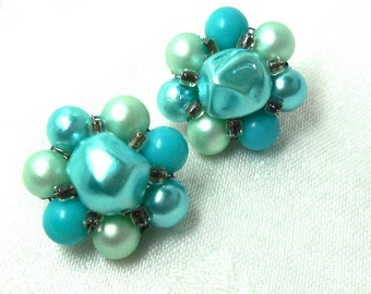 50s BLUE and Mint Earrings beaded Rockabilly Turquoise Party Retro Fun
