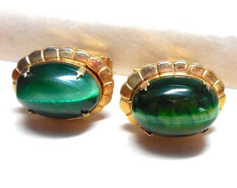 Green Glass Cuff links Vintage Emerald Green Cabochon Art Nouveau Prong Set Cat's Eye Gold Tone Patented