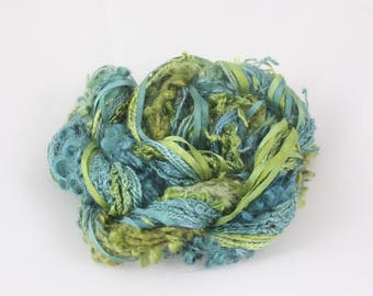 Moss and Jungle green Silk embroidery Thread Silk ribbon Hand Dyed sewing weaving supplies doll hair embellishment jewellery supplies