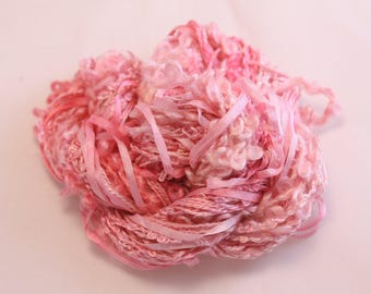 Pastel Pink Silk sewing Thread Silk ribbon embroidery Hand Dyed Variegated quilting thread weaving yarn fibre art embellishment