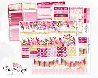 February Monthly View Planner Stickers Kit