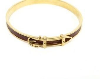 Hermès Bangle Barcelet 24kt Gold Plated and Leather