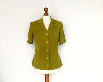 Vintage Green Jacket Blazer / Classic / Short Sleeve / Waist Fitted / Buttoned / Double Collar / Spring / medium