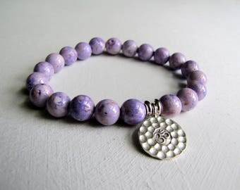 Woman's Bracelet Purple Stretch Bracelet Sterling Silver Ohm Bracelet Yoga Bracelet Charm Bracelet Summer Jewelry Boho Jewelry Beach Jewelry