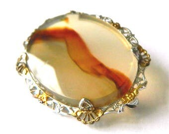 Vintage 1940's Agate Brooch Sterling Silver Setting