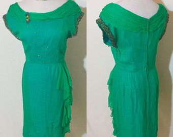 1950's Emerald Peacock Colored Vintage Silk Dress Moving Sale