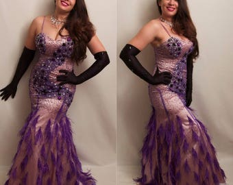Stunning Purple Vintage Style Beaded Sequins Ostrich Feather Mermaid Gown