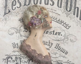 She Has Stood The Test Of Time Antique Flapper Boudoir Half Doll Plaster Add On