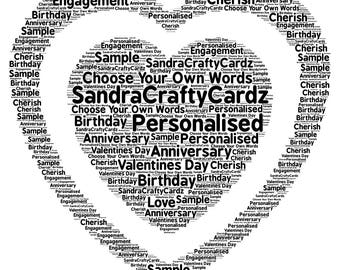 Personalised Gift for Couples, wedding, Anniversary,Mothers Day Love, Love hearts, Word Art,  Digital Print