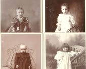Children Cabinet Photos - 4 Edwardian beautiful babies - young children