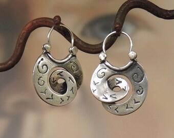 Patterned Small Scroll Hoop Earrings