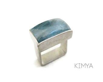 Aquamarine Ring - Modern Square Silver Ring - Square Gemstone Ring - Blue Gemstone Ring - Industrial Ring - Simple Contemporary Ring -