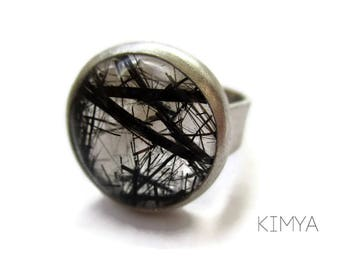 Tourmaline Quartz Ring - Gemstone Ring - Tourmaline Ring - Silver Ring - Wide Band Ring - Unique Rings - Contemporary Ring - Jewelry Gifts