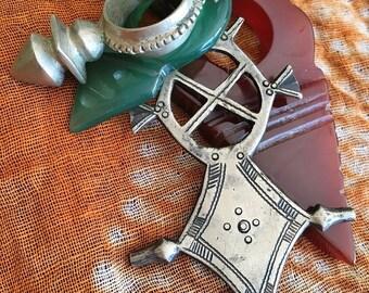 Large Tuareg  Agath Telhakimt or Tanfouk, Tuareg Silver Cross, Smaller Green Agath & Tuareg Zinder Cross, incl.  Leather Cord